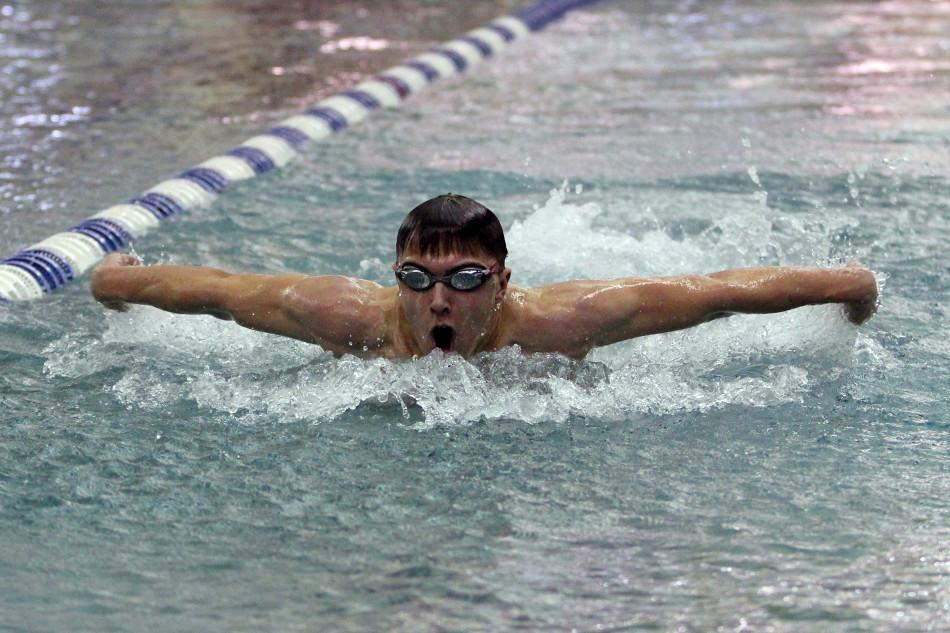 Weston Graham (11) swims to complete a relay. This was Graham's first year swimming.