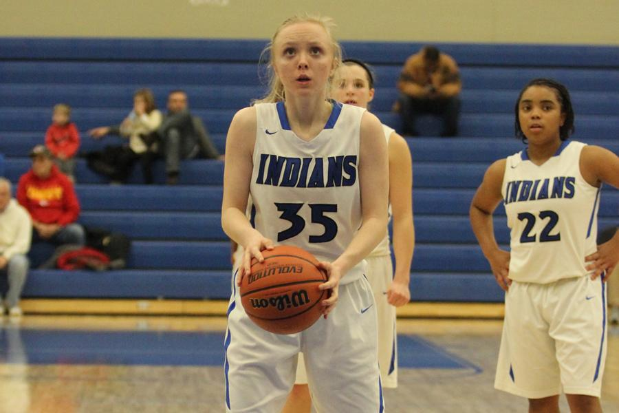 Jenna+Bunner+%2810%29+gets+positioned+for+her+free+throw.++Bunner+made+many+of+her+free+throws.+
