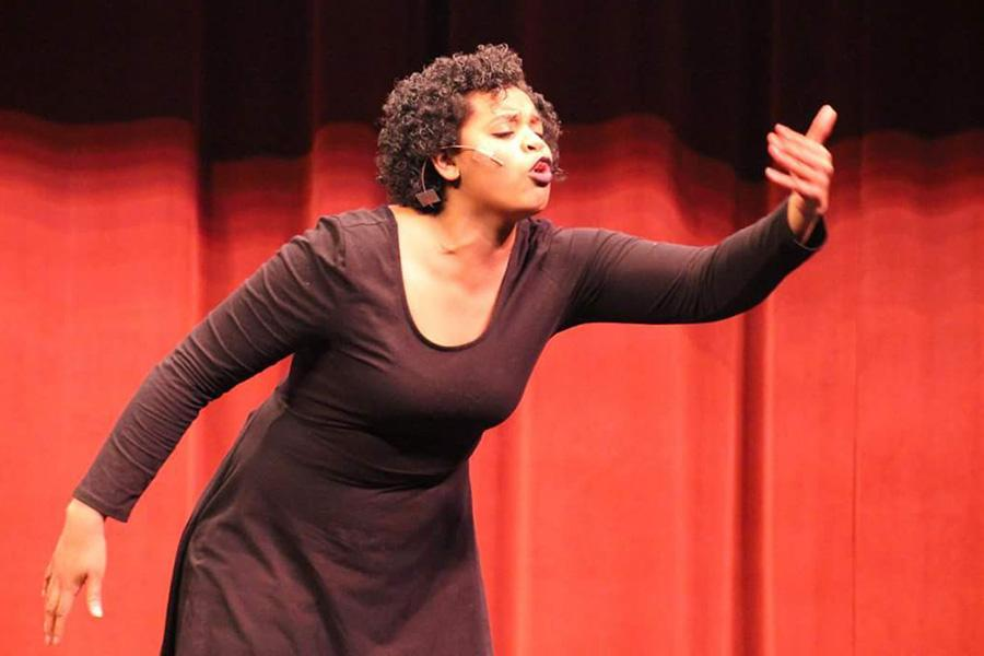 """Raquel Rembert (12) performs a monologue from the play """"The Piano Lesson."""" Rembert won Best of Show for individual monologue at the Indiana Thespians State Conference and was given the opportunity to perform at the conference's closing ceremony. Photo by: Olivia Throckmartin"""