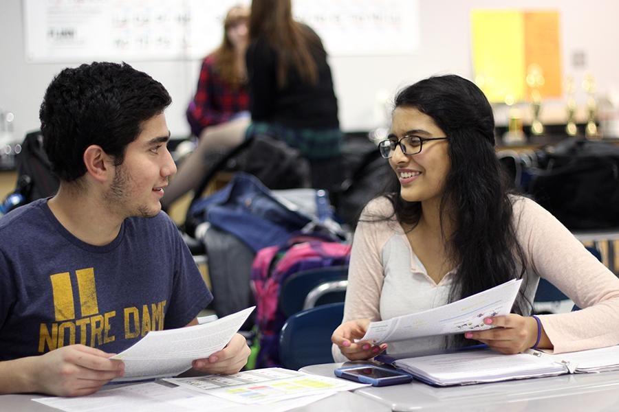 Mohammed Hijaz (11) and Payal Bhatt (11) prepare by studying for their event. Bhatt's events mostly consisted of biology-based information.