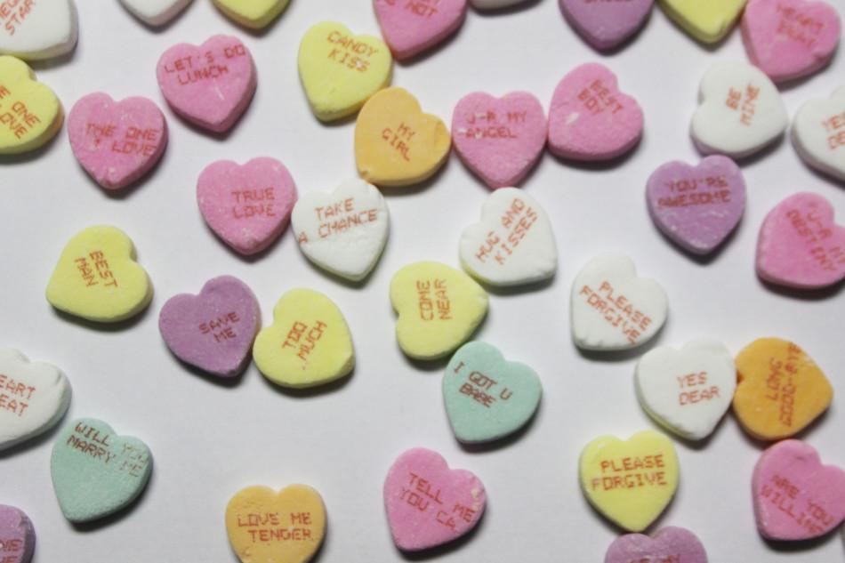 Candy hearts are a traditional Valentine's Day candy. These are usually sold only around  Valentine's Day.