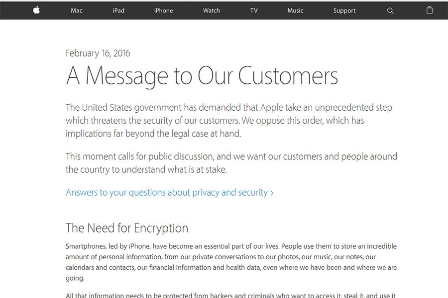 On+Feb.+16%2C+Apple%E2%80%99s+Chief+Executive+Officer+Tim+Cook+wrote+a+letter+to+the+customers+of+Apple+explaining+the+security+concerns+of+the+public.+Apple+decided+to+not+comply+with+the+FBI%E2%80%99s+requests+to+search+the+public%E2%80%99s+data+on+a+general+scale.+The+letter+can+be+found+at+http%3A%2F%2Fwww.apple.com%2Fcustomer-letter%2F.+