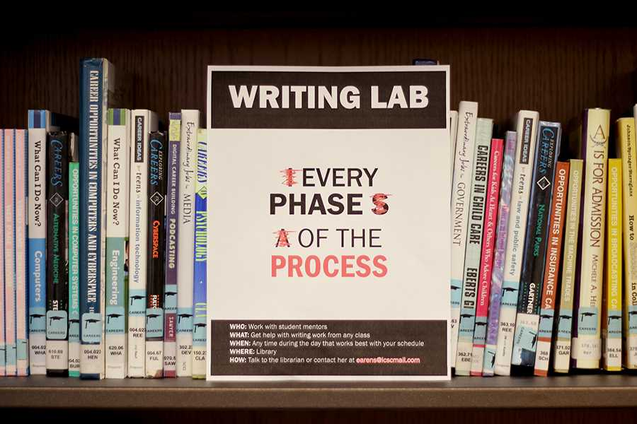 The Writing Lab flyer hangs in the Library. A separate room had been arranged to accommodate the students and their helpers.
