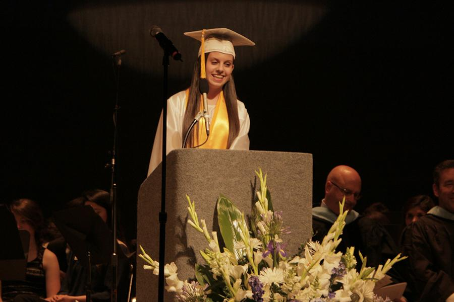 Alexis Morales ('15) speaks during last year's Commencement ceremony. Morales was one of the two chosen speakers last year. Photo by: Emily Lisac