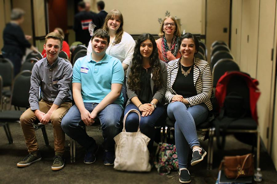 Members of the Interact Club pose for a group picture before the Annual Rotary District conference takes place at the Radisson Hotel in Merrillville, Ind. Back row: Caitlyn Mavity (10) and Emily Barnes (10). Front row: Michael O'Donnell (10), Chris Zeharalis (12), Duaa Hijaz (12) and Jovana Dodevska (12) 