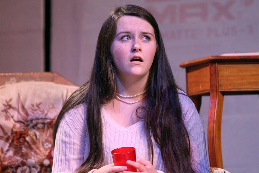 """Olivia LaVoie (9) plays a stressed mother in her show """"Suspect to Change."""" Freshman Shows will go on April 29 and 30 at 7 p.m. both nights."""