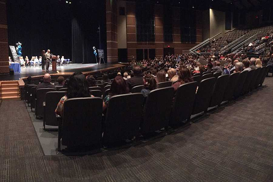 Students and their families sit in the auditorium at Senior Honors Night. Students were awarded a wide range of awards and scholarships for their hard work.