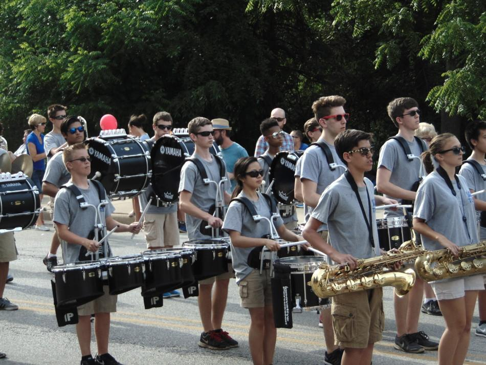 The+drumline+keeps+time+as+they+perform.The+marching+band+had+their+first+summer+practice+on+June+7.