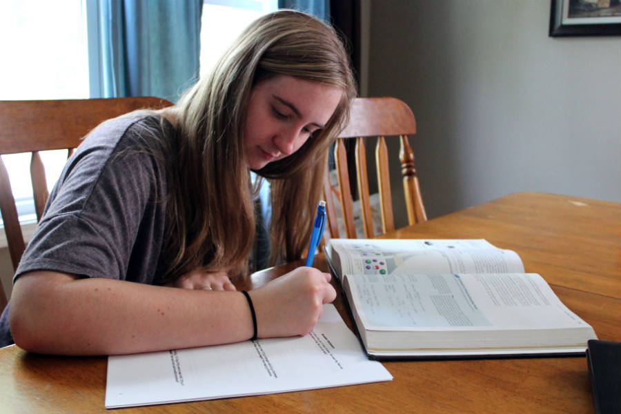 Amy Denton (11) works on the AP Chemistry summer packet. AP Chemistry was just one of the many AP classes to require summer work.