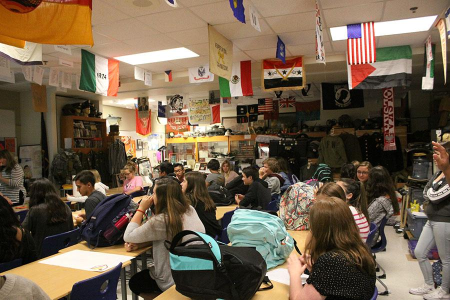 On Aug. 29, numerous students fill Mr. Clark's room. They listened to the leaders explain what Interact club was.