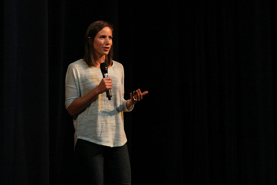 Katie%2C+the+third+and+final+speaker+of+the+Stairway+to+Heroin+presentation%2C+shares+her+own+story+about+drug+addiction.+The+three+speakers+addressed+the+importance+of+staying+alert+about+the+dangers+of+substance+abuse+and+addiction+on+Tuesday%2C+Oct.+11+in+the+auditorium.+%0A