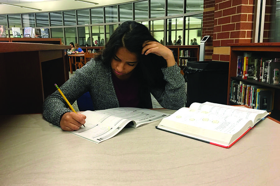 Ishika Prakash (11) prepares for the PSAT by taking a practice test. The PSAT determines one's qualification for the National Merit Scholarship.