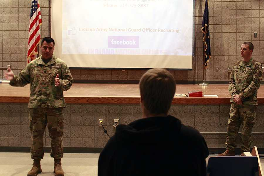 Sergeant O'Bannon and Staff Sergeant Brock Vorhies wrap up their presentation and answer last minute questions students may have. The meeting ended with students filling out an information card.