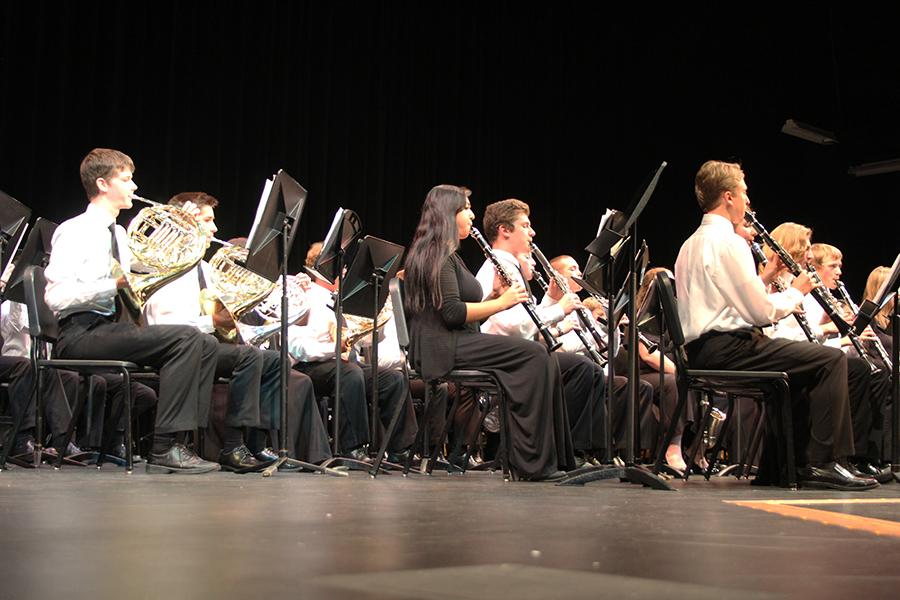 """The Wind Ensemble played three pieces of music. One of their songs was """"Gift of Christmas Music."""""""