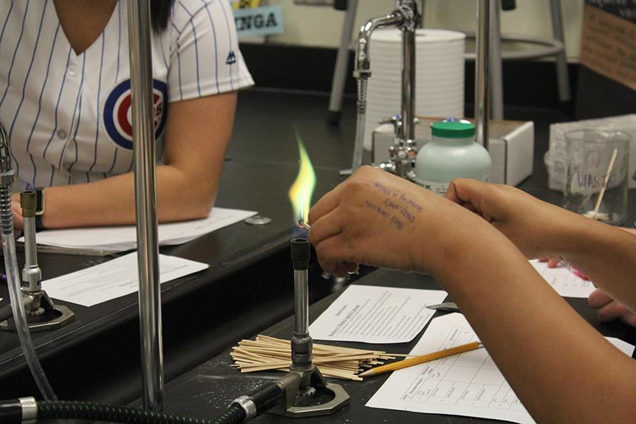 One of the different labs was the heating of copper (II) carbonate. The lab caused a reaction which created a green flame.