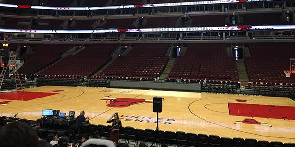 Students learn from the different marketing and business directors of the Chicago Bulls. The Career Day presentation took place at United Center on Feb. 16.