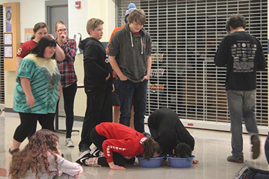 Several students volunteer to play a game in which they had to bob for gummy worms in a bowl on the floor. The game was played boys against girls and the boys won.