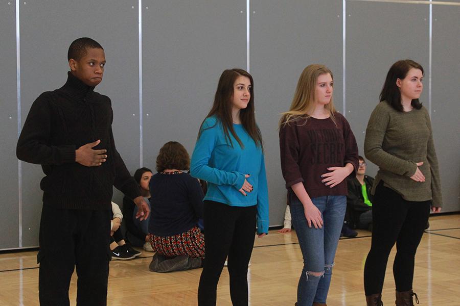 Lamar Murray (11), Katelyn Schutz (10), Kimberly Wojciehowski (10) and Ryane Kats (10) play Simon Says. Murray was the winner of the game.