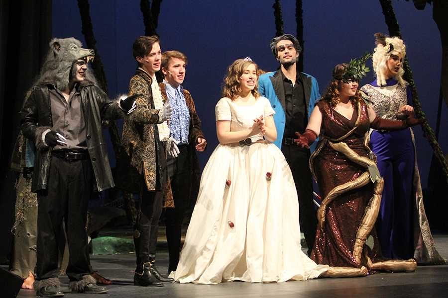 "The cast comes together in song and dance on the Saturday show of ""Into the Woods."" The show had two weeks of performances with five shows total.  Photo by: Rachel Front (12)"