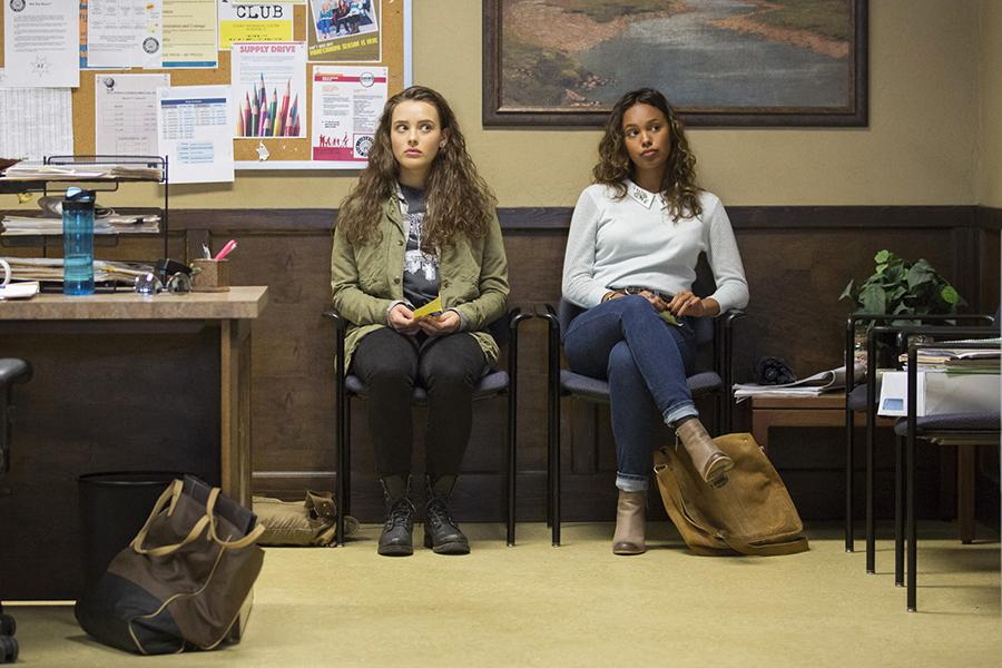 Hannah+Baker%2C+played+by+Katherine+Langford%2C+and+Jessica+Davis%2C+played+by+Alisha+Boe%2C+sit+in+the+office+waiting+to+speak+to+the+counselor+in+the+show+%E2%80%9C13+Reasons+Why.%E2%80%9D+The+first+season+contained+13+episodes.+%28Beth+Dubber%2FNetflix%29