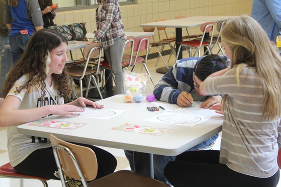 Best Buddies meets in the cafeteria on Monday, April 10. This meeting consisted of an easter egg hunt and coloring.