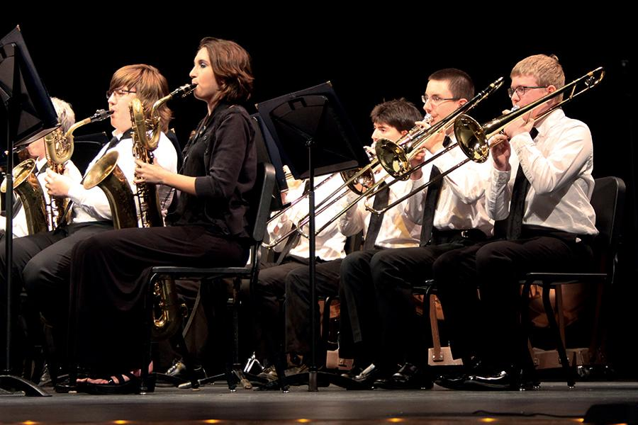 Band members play their instruments during their performance. This concert was the last band concert of the year.