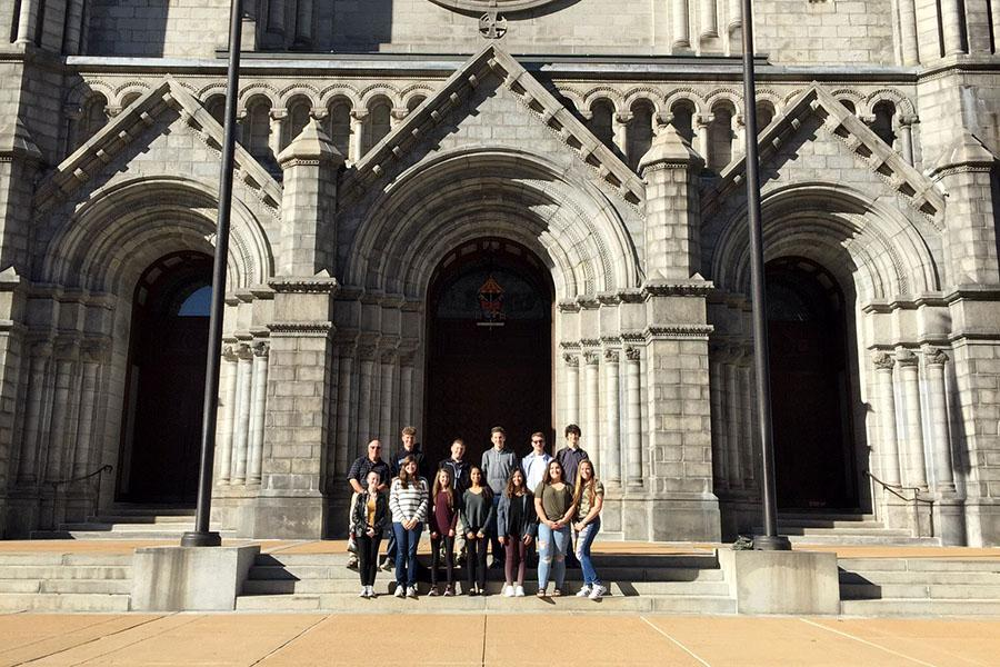 Mr. Kendal Smith, Science, and a group of AP Chemistry students pose for a photo outside the Cathedral Basilica of Saint Louis. The group spent April 7 touring the city and spent April 8 competing in WUCT. Photo by: Mr. Sean Begley