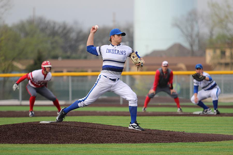 Matthew Litwicki (12) pitches during the game. Litwicki pitched all seven innings.