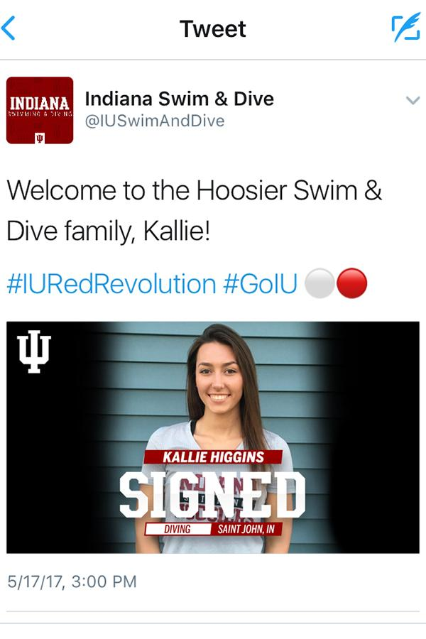 On+Wednesday%2C+May+17%2C+the+Indiana+University+Women%E2%80%99s+Swimming+and+Diving+Twitter+account+announces+that+Kallie+Higgins+%2812%29+signed+with+the+school.+Higgins+signed+with+the+Hoosiers+after+Clemson+University+terminated+its+women%E2%80%99s+diving+program.+