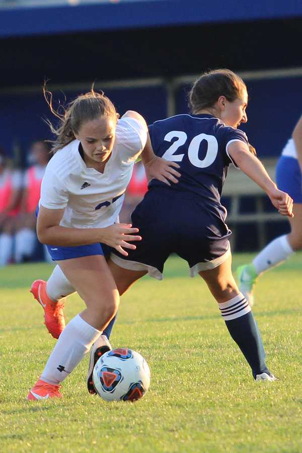 Mackenzie Rainwater (10) defends the ball. Rainwater had been on varsity since freshman year.
