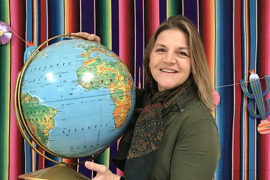 Mrs. Christina Schneider, Foreign Language, reminisces on all of the places she has traveled to around the world. She has visited 11 different countries in her lifetime.