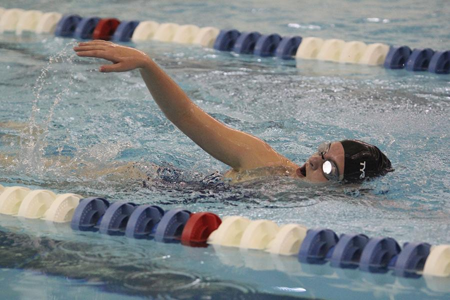 A Lake Central swimmer swims during the 200 meter relay. This was the second JV girls swim meet of the year.