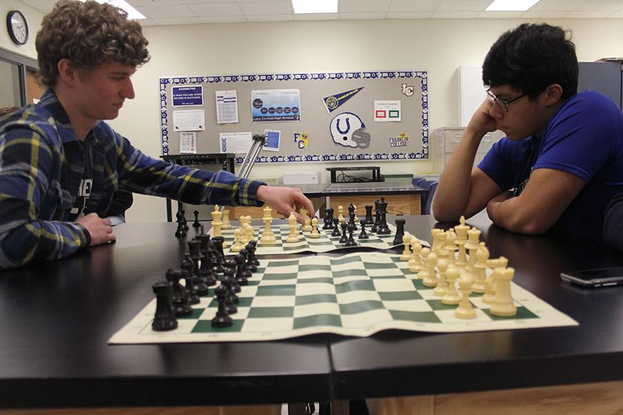 Joseph Jakubowicz (12) and Nick Rivera (12) dual in a match of chess. For those interested in joining the Chess Club, see Dr. Dustin Verpooten, Science, in C326 or your councillor for more information.