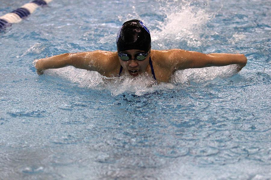 Christy+Tham+%2810%29+remains+focused+while+swimming+the+100+butterfly.+Tham+tried+her+best+last+night.++%0A