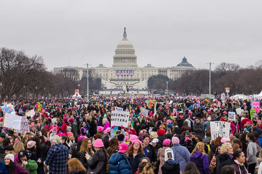 Women+march+to+support+rights+for+equality.+In+2017+they+marched+for+their+first+time+in+Washington%2C+D.C.