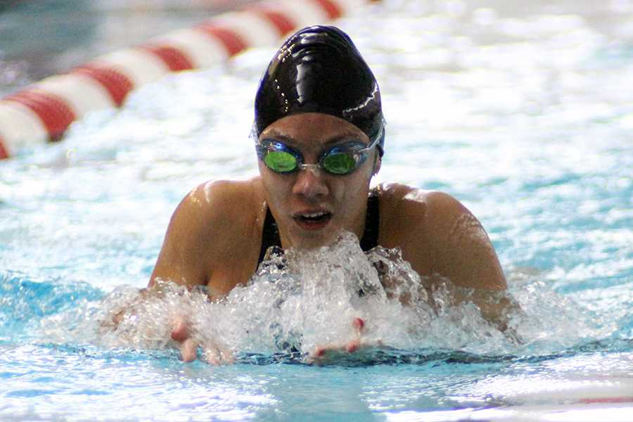 Chantal+Almazan+%2812%29+competes+in+breaststroke.+This+was+Almazan%E2%80%99s+last+IHSAA+event+as+a+varsity+swimmer.