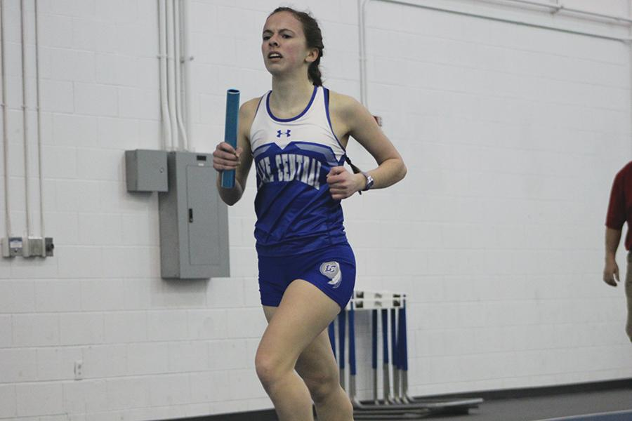 Samantha Dittrich (12) is giving it her all while running the relay race. She passed off the botan to her teammate after she ran.