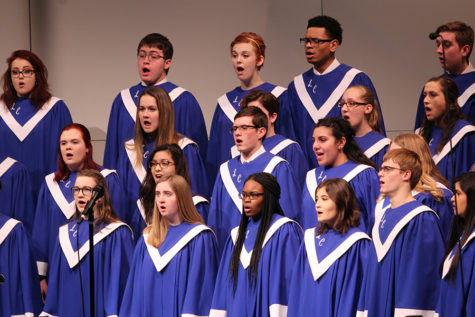 Concert choir performs their first song of the night. The show opened with the concert choir.