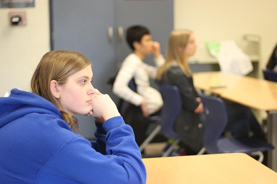 Justine Misch (11) listens during the meeting. Student Council meets once a week.