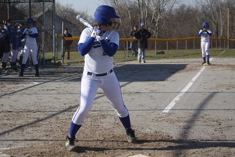 Kaitlyn Roethler (10) is batting. As well as being the starting pitcher, she also batted for the team.