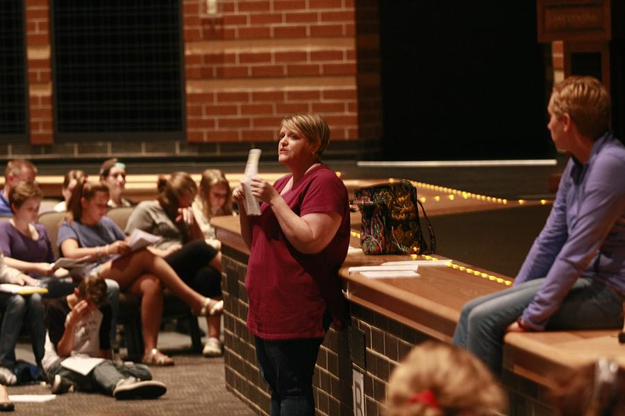 Directors Mrs. Raber and Mrs. Neth talk about the upcoming plays for this year's theater. The callout meetings turnout was larger than normal.