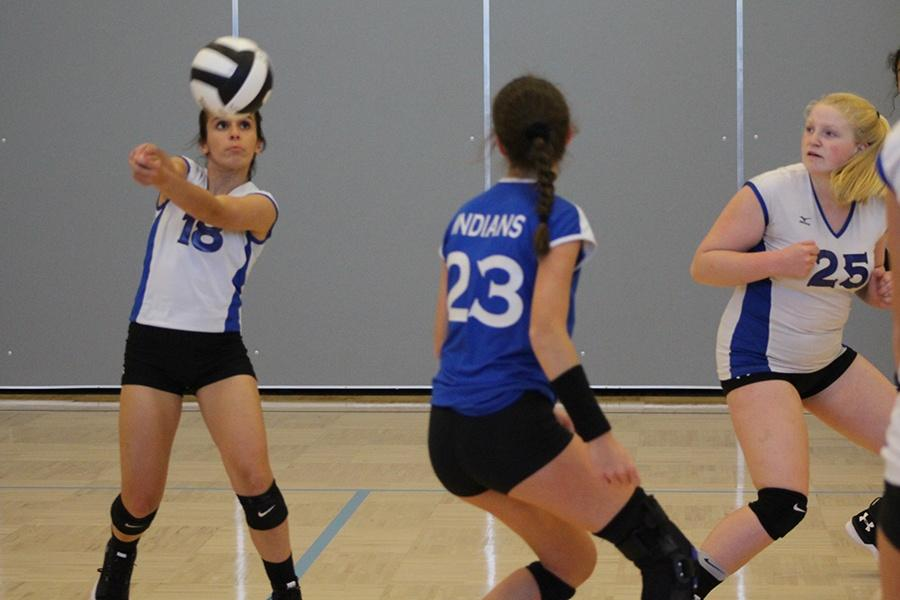 Alexis+Kozel+%289%29+hits+the+volleyball+in+the+freshman+game+against+LaPorte.+Lake+Central+defeated+LaPorte+in+all+three+matches.