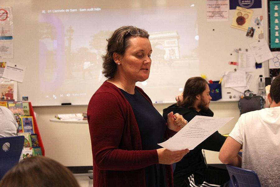 Mrs. Blandine Baldwin, Foreign Language, teaches her class. Baldwin replaced Ms. Nancy Tilka who retired last year.