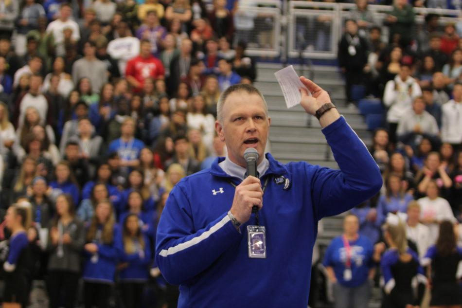 Principal Sean Begley speaks at the pep rally. The pep rally was held September 28. Photo By: Maisie Westerfield