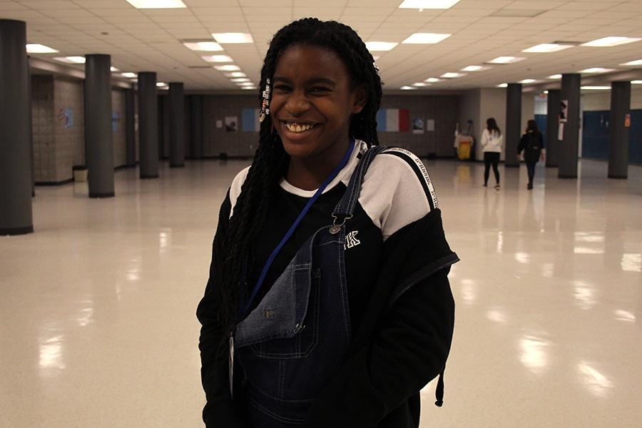 Sydney Black (8) enjoys the freshman center. This was her first time at Lake Central.