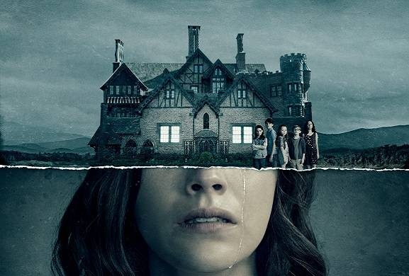 The five siblings stand in front of Hill House, the house that will end up changing their futures, lives, and outlooks, featuring protagonist, Nell Crain crying.  The 2018 series is based off of the 1959 gothic horror novel.