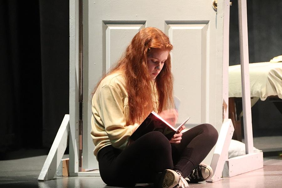 Rachel Davids (10) sits reading her thoughts out loud out of her journal. She played one the lead roles in the show.