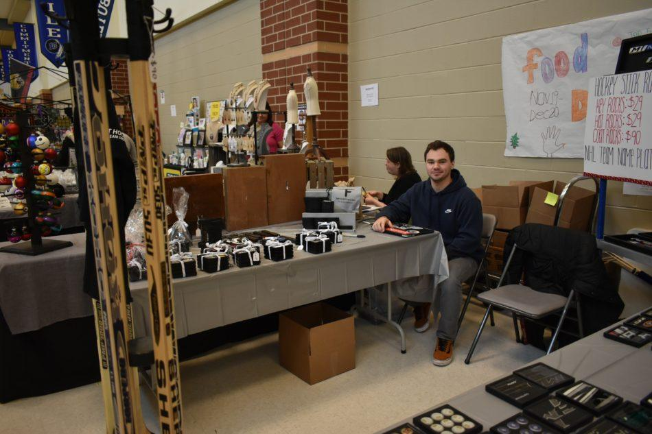 Quinton Oster, one of the owners of Top Flight Hockey, was selling his one of a kind hockey creations. Oster has a local shop located in St. John, Indiana.