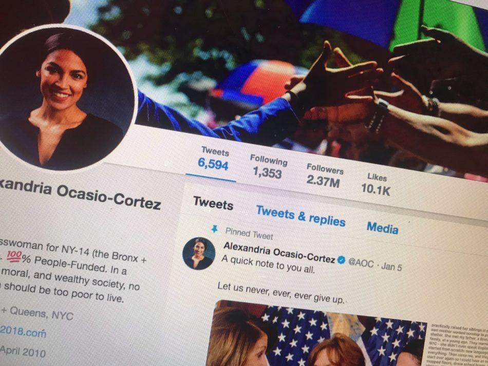 A+computer+screen+is+open+to+Alexandria+Ocasio-Cortez%E2%80%99s+twitter.+As+a+Millennial+Congresswoman%2C+Ocasio-Cortez+utilizes+social+media+platforms+to+reach+out+to+her+followers.+
