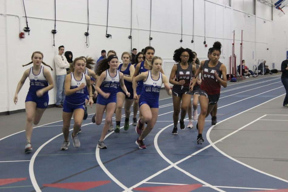 A group of Lake Central track members prepare to race against girls from Morton High School and Highland High School. Lake Central won against both schools on Friday, March 8.